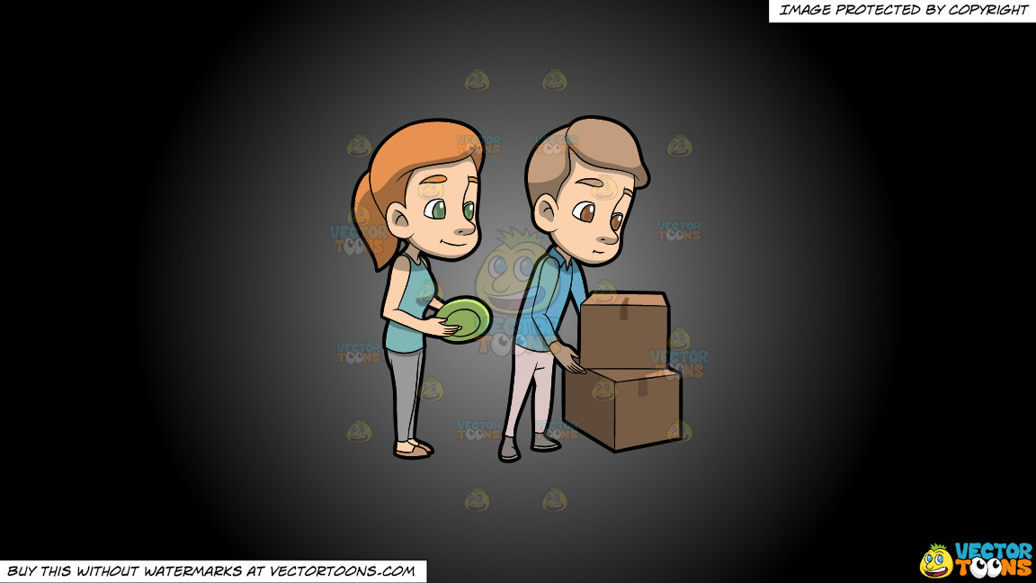 A Couple Packing Their Dinnerware On A Grey And Black Gradient Background thumbnail