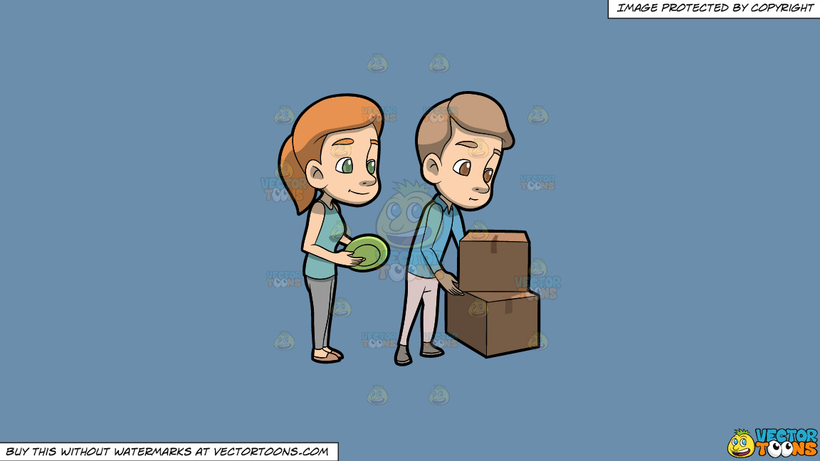 A Couple Packing Their Dinnerware On A Solid Shadow Blue 6c8ead Background thumbnail