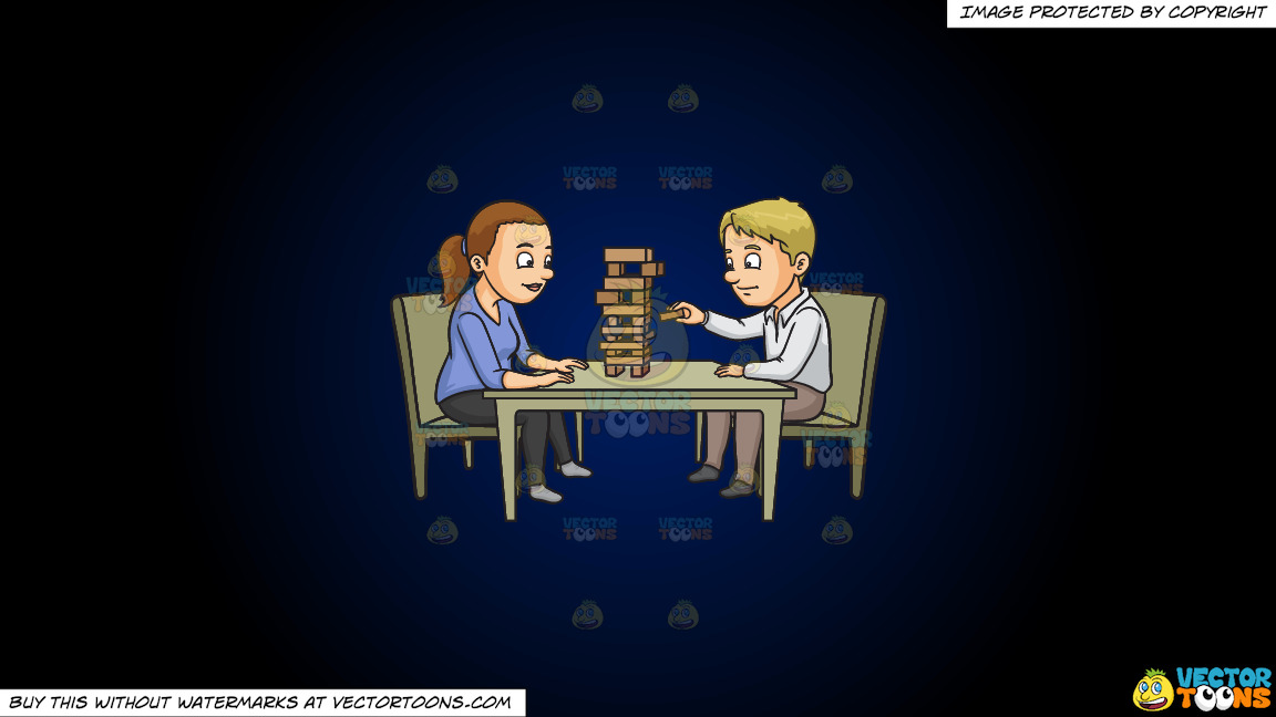 A Couple Playing Jenga On A Dark Blue And Black Gradient Background thumbnail