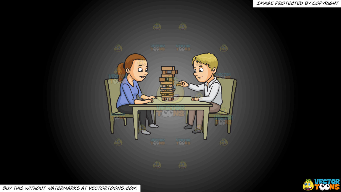 A Couple Playing Jenga On A Grey And Black Gradient Background thumbnail