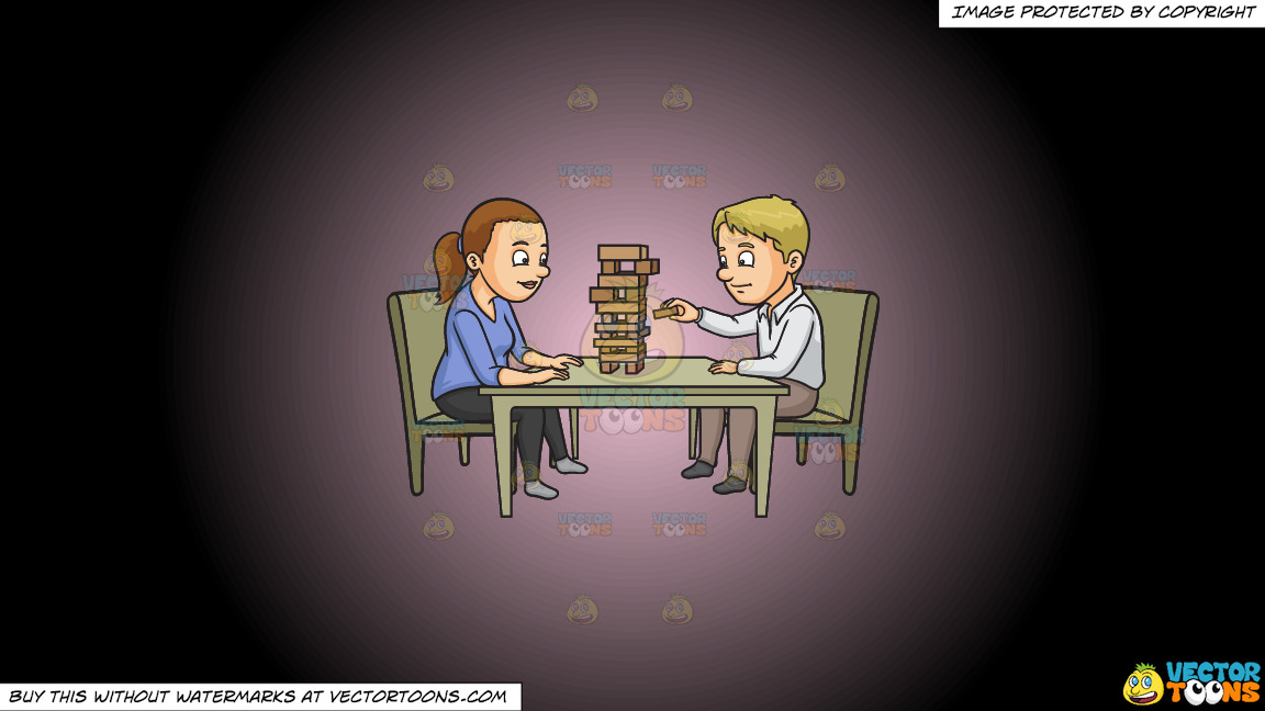 A Couple Playing Jenga On A Pink And Black Gradient Background thumbnail