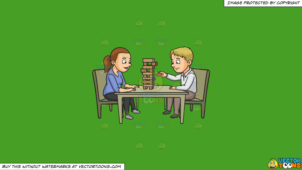A Couple Playing Jenga On A Solid Kelly Green 47a025 Background thumbnail