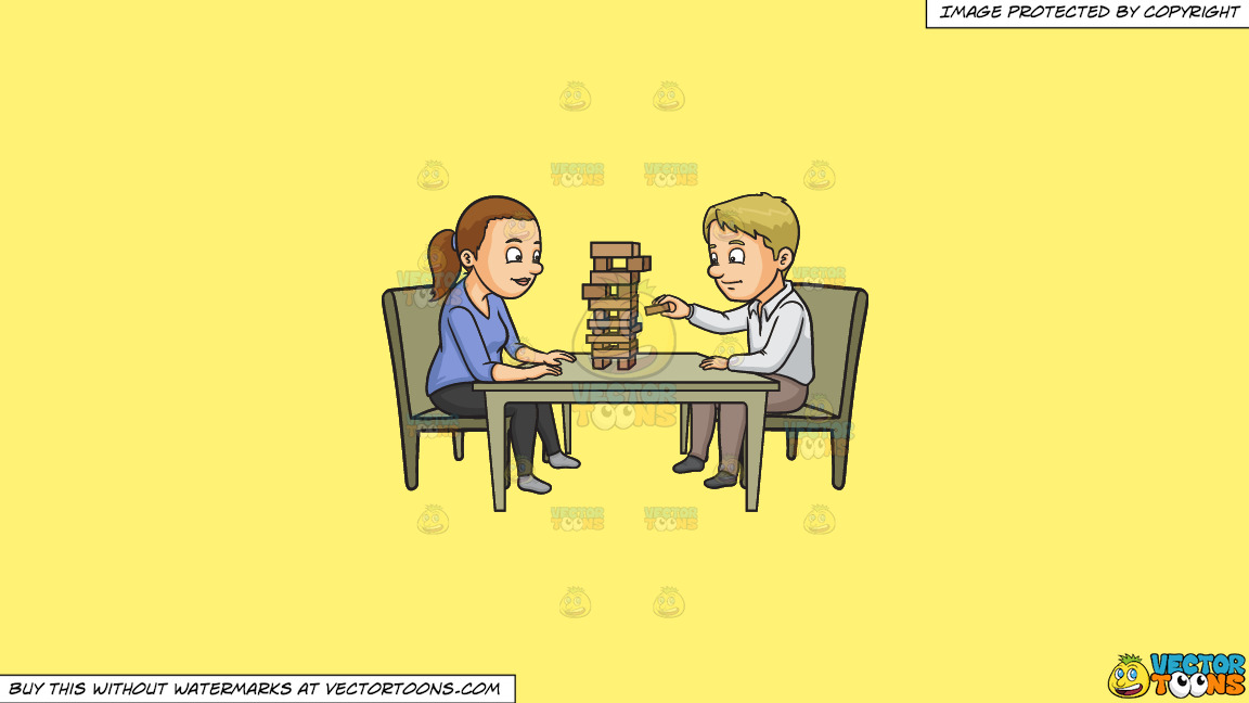 A Couple Playing Jenga On A Solid Sunny Yellow Fff275 Background thumbnail
