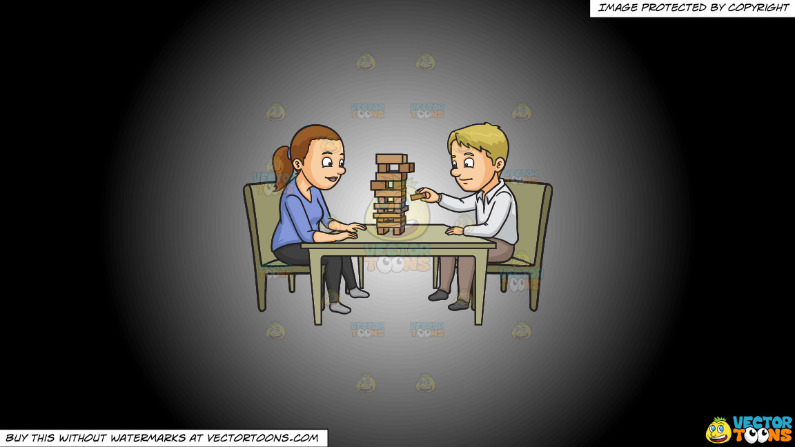 A Couple Playing Jenga On A White And Black Gradient Background thumbnail