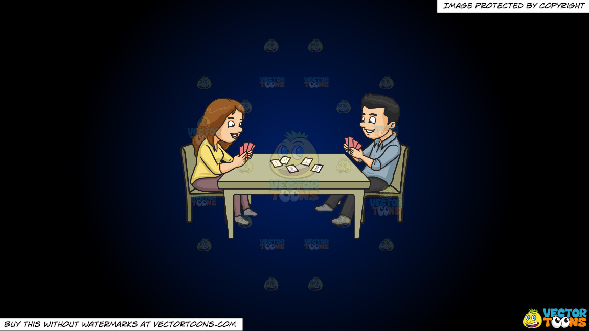 A Couple Playing Poker On A Dark Blue And Black Gradient Background thumbnail