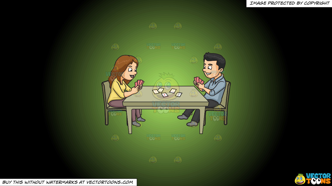 A Couple Playing Poker On A Green And Black Gradient Background thumbnail