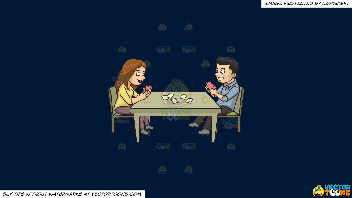 A Couple Playing Poker On A Solid Dark Blue 011936 Background thumbnail