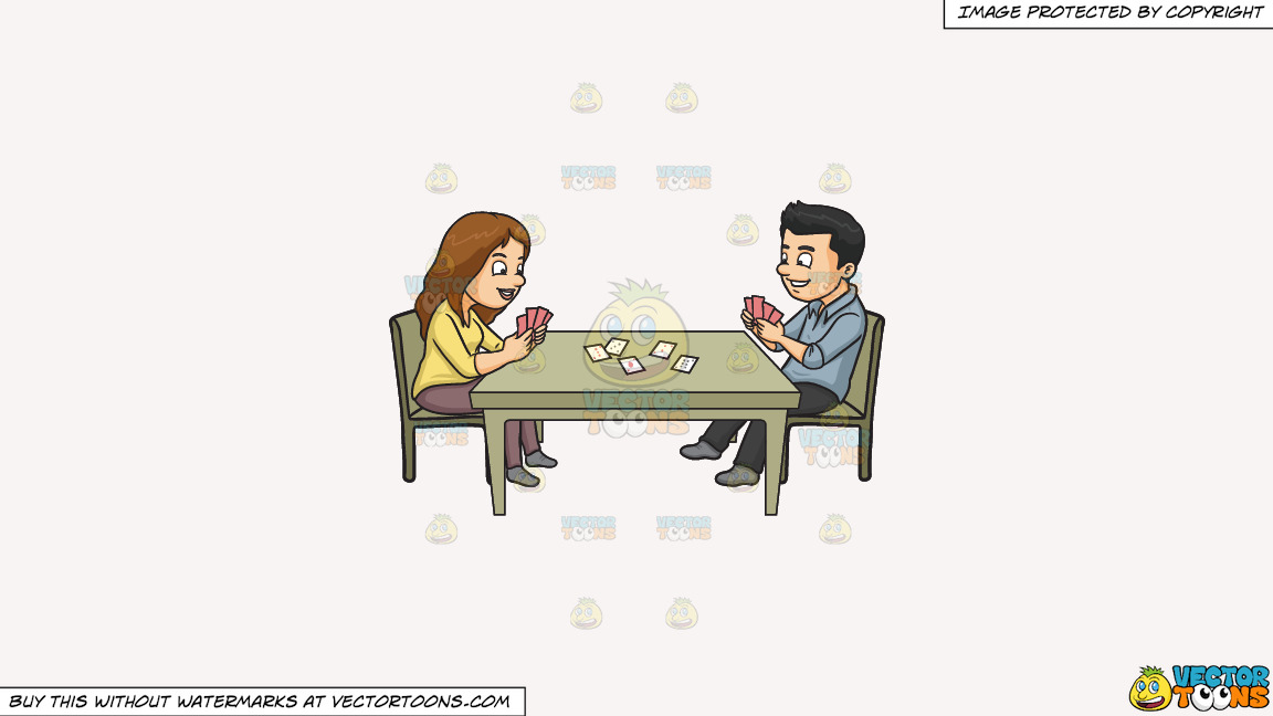 A Couple Playing Poker On A Solid White Smoke F7f4f3 Background thumbnail