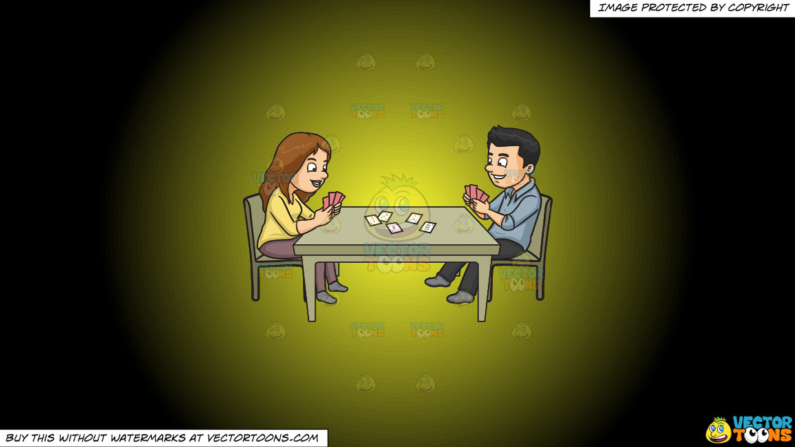 A Couple Playing Poker On A Yellow And Black Gradient Background thumbnail