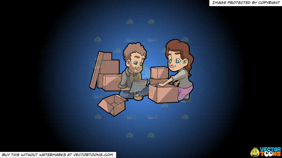 A Couple Takes A Break From Packing Things Before Moving On A Blue And Black Gradient Background thumbnail