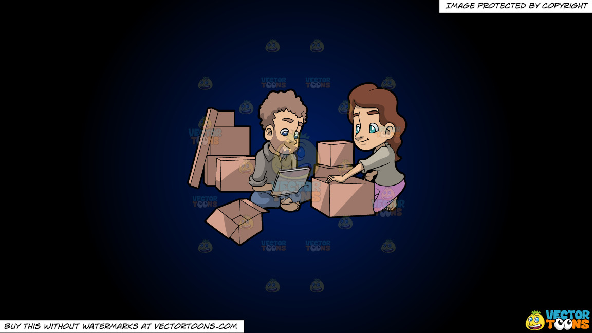 A Couple Takes A Break From Packing Things Before Moving On A Dark Blue And Black Gradient Background thumbnail