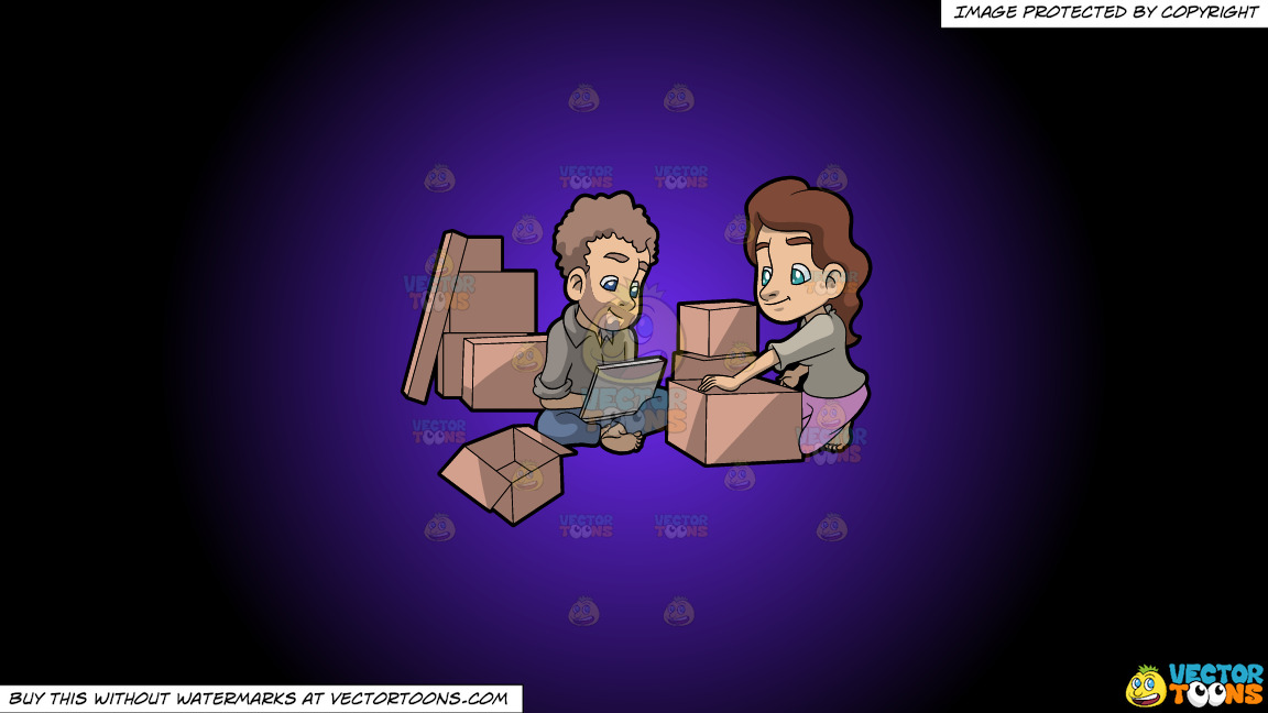 A Couple Takes A Break From Packing Things Before Moving On A Purple And Black Gradient Background thumbnail