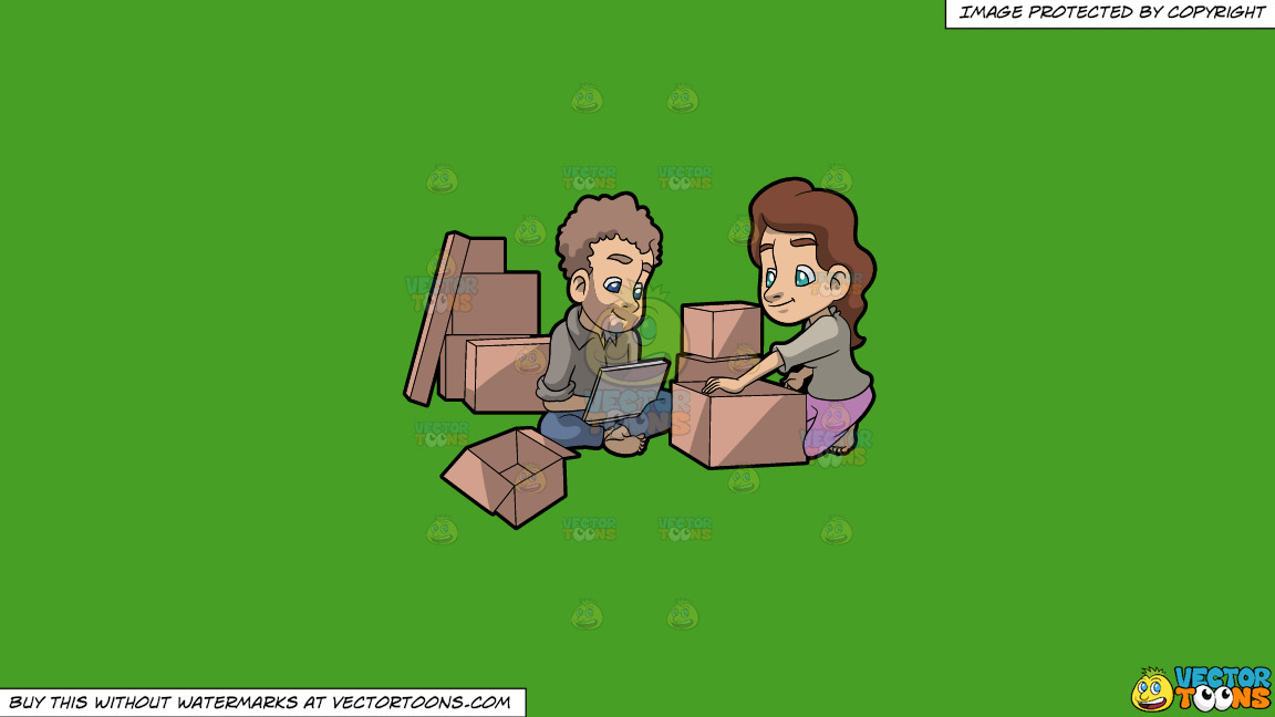 A Couple Takes A Break From Packing Things Before Moving On A Solid Kelly Green 47a025 Background thumbnail