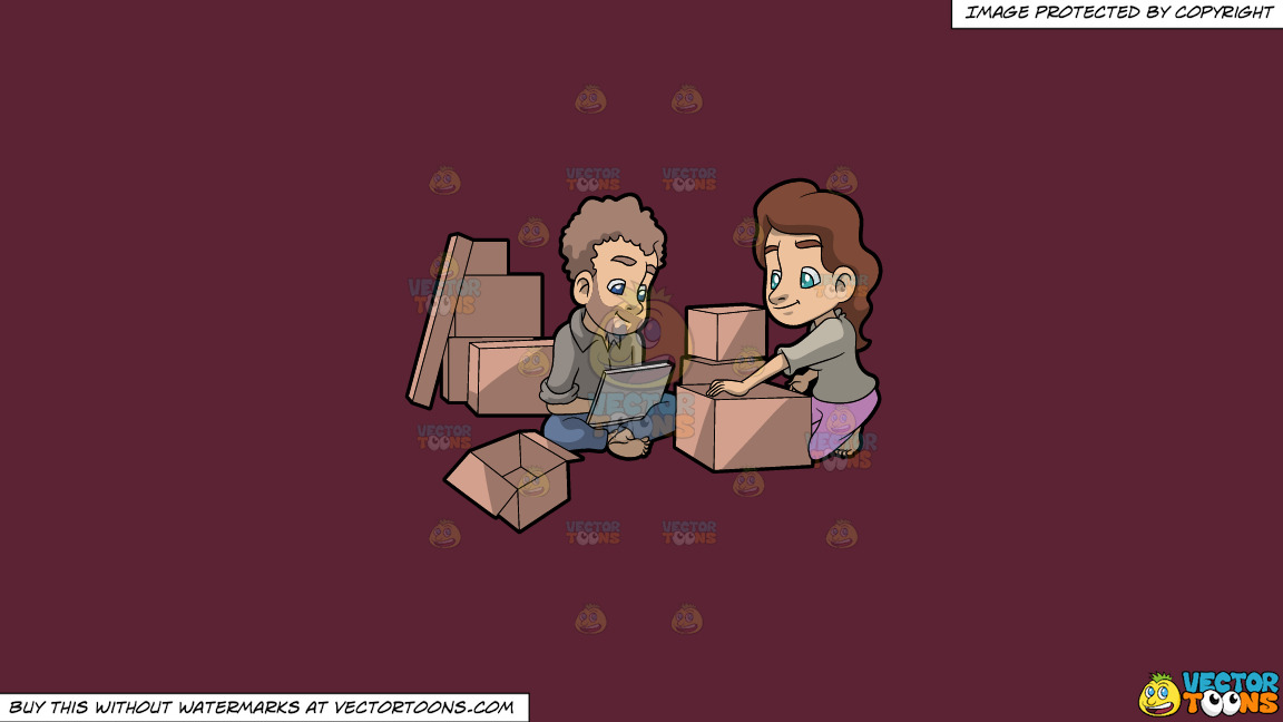 A Couple Takes A Break From Packing Things Before Moving On A Solid Red Wine 5b2333 Background thumbnail