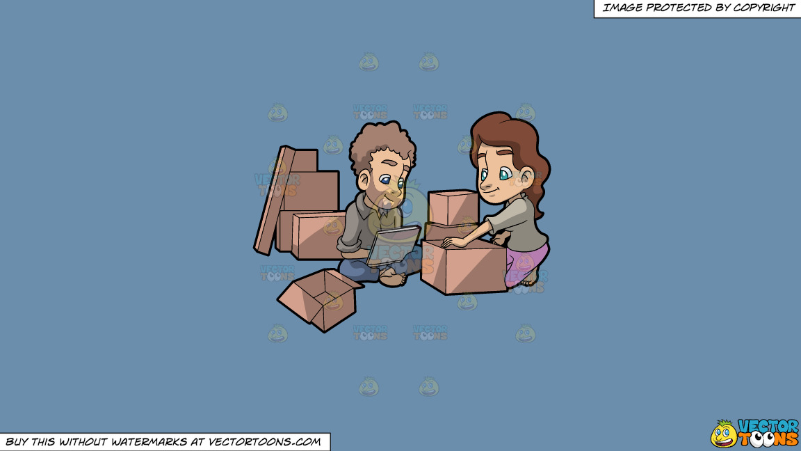 A Couple Takes A Break From Packing Things Before Moving On A Solid Shadow Blue 6c8ead Background thumbnail