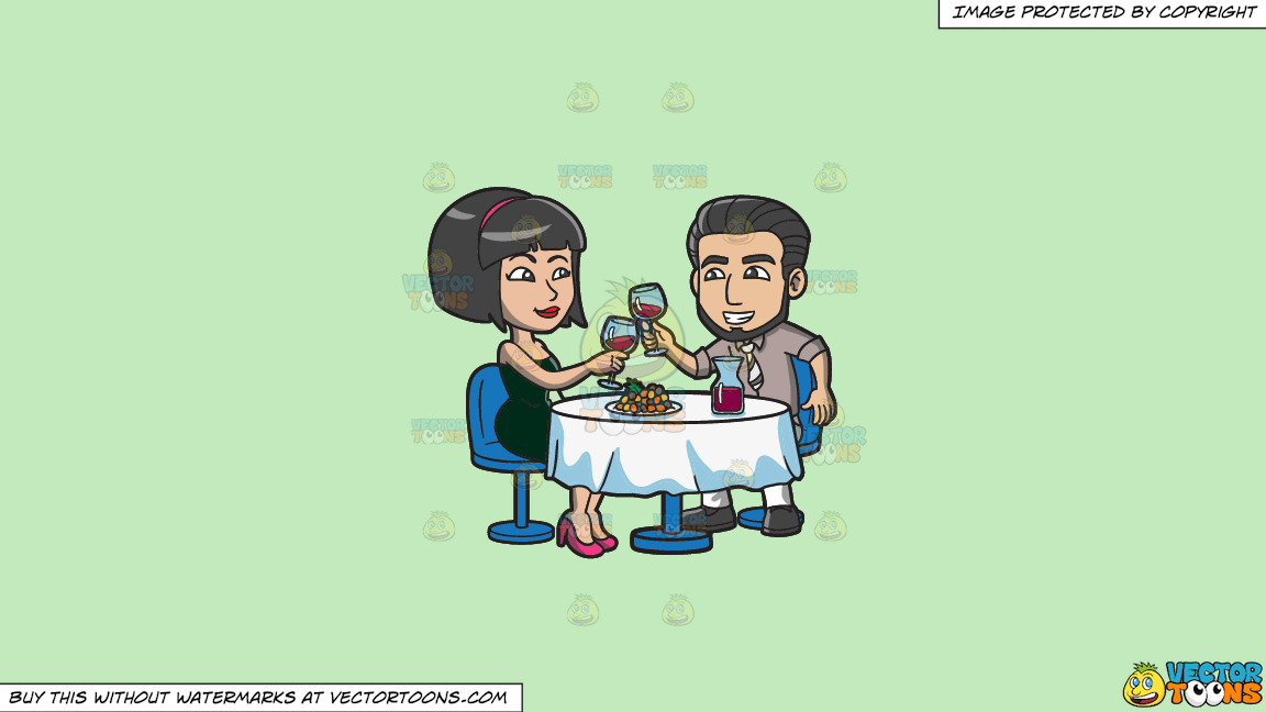 A Couple Toasting A Glass Of Wine Before Dinner On A Solid Tea Green C2eabd Background thumbnail