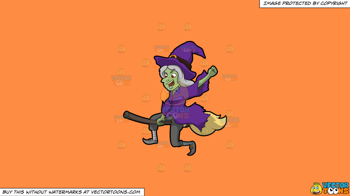 A Creepy Flying Witch On A Solid Mango Orange Ff8c42 Background thumbnail