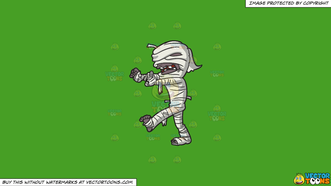 A Creepy Mummy Walking On A Solid Kelly Green 47a025 Background thumbnail