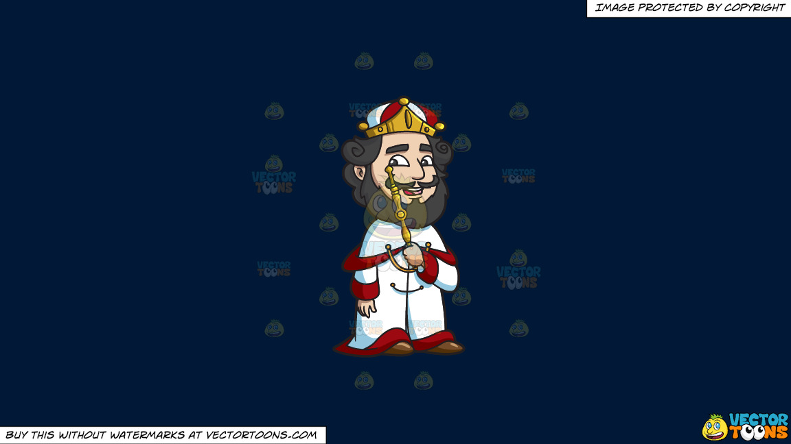 A Crowned King On A Solid Dark Blue 011936 Background thumbnail