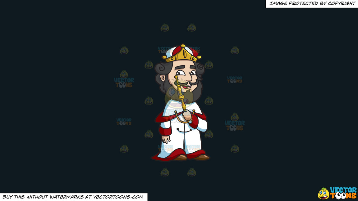 A Crowned King On A Solid Off Black 0f1a20 Background thumbnail