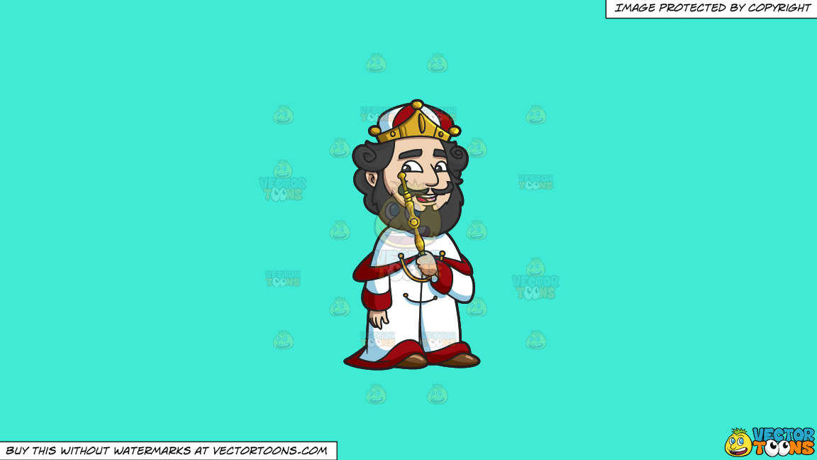A Crowned King On A Solid Turquiose 41ead4 Background thumbnail