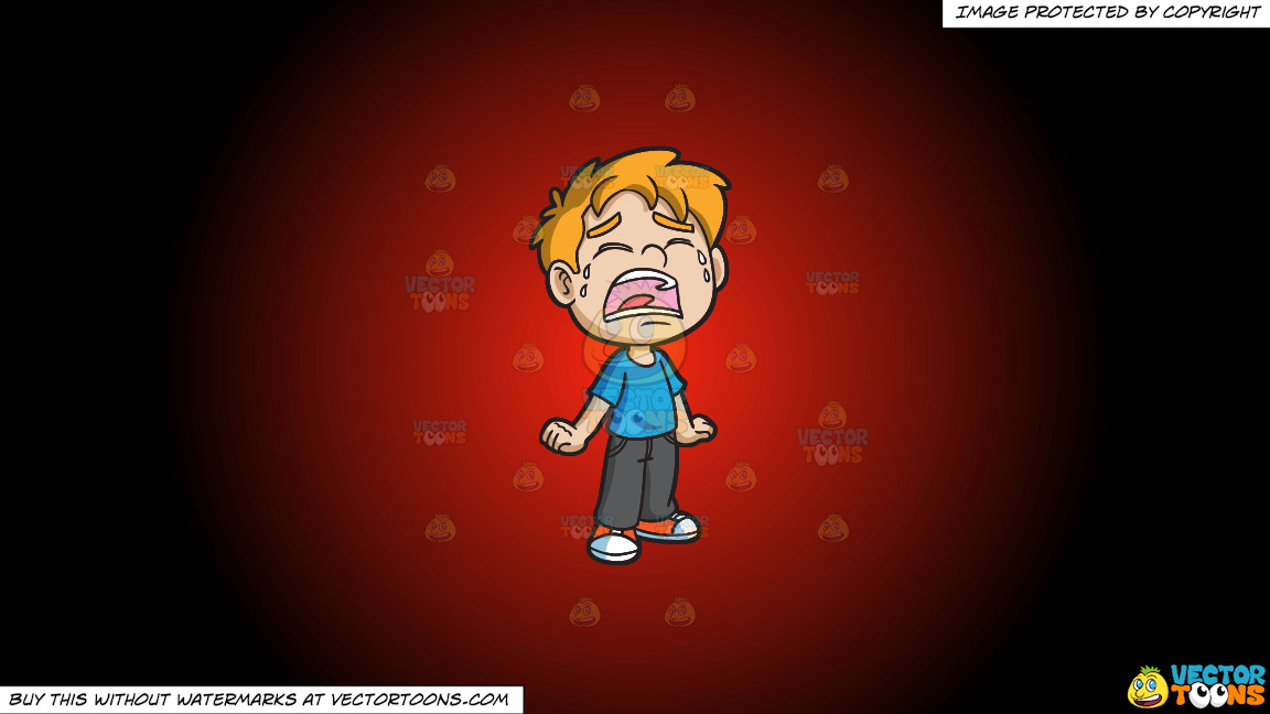 A Crying Little Boy On A Red And Black Gradient Background thumbnail