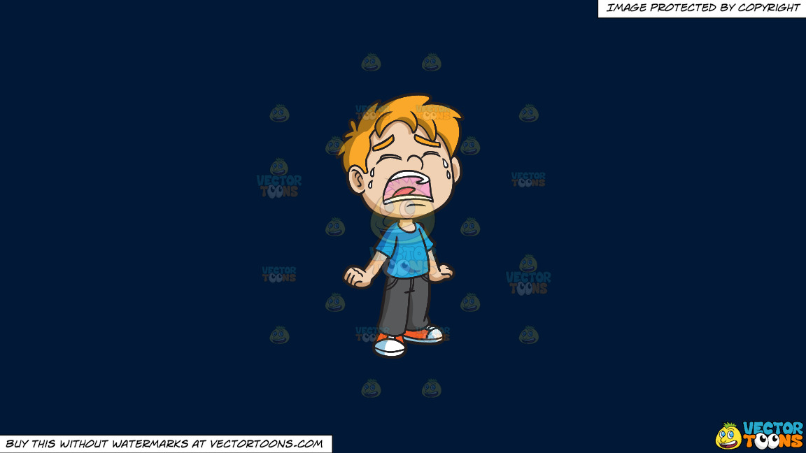 A Crying Little Boy On A Solid Dark Blue 011936 Background thumbnail