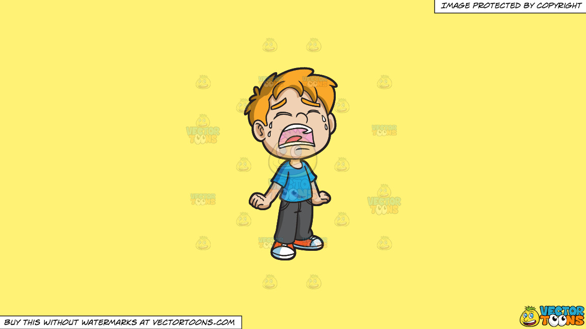 A Crying Little Boy On A Solid Sunny Yellow Fff275 Background thumbnail