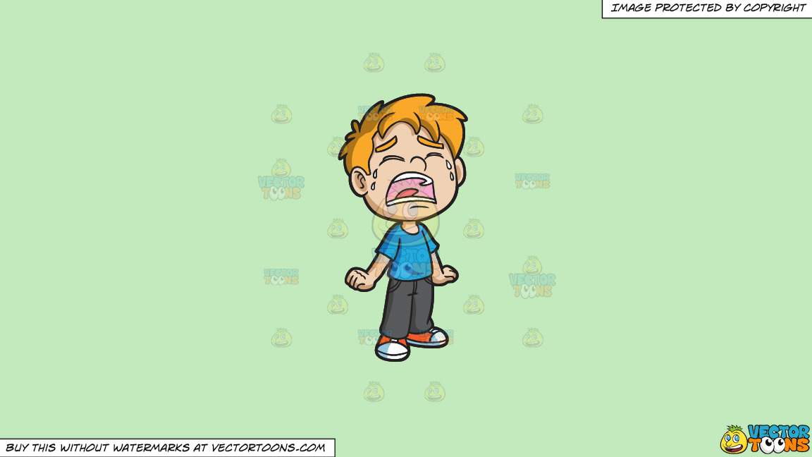 A Crying Little Boy On A Solid Tea Green C2eabd Background thumbnail