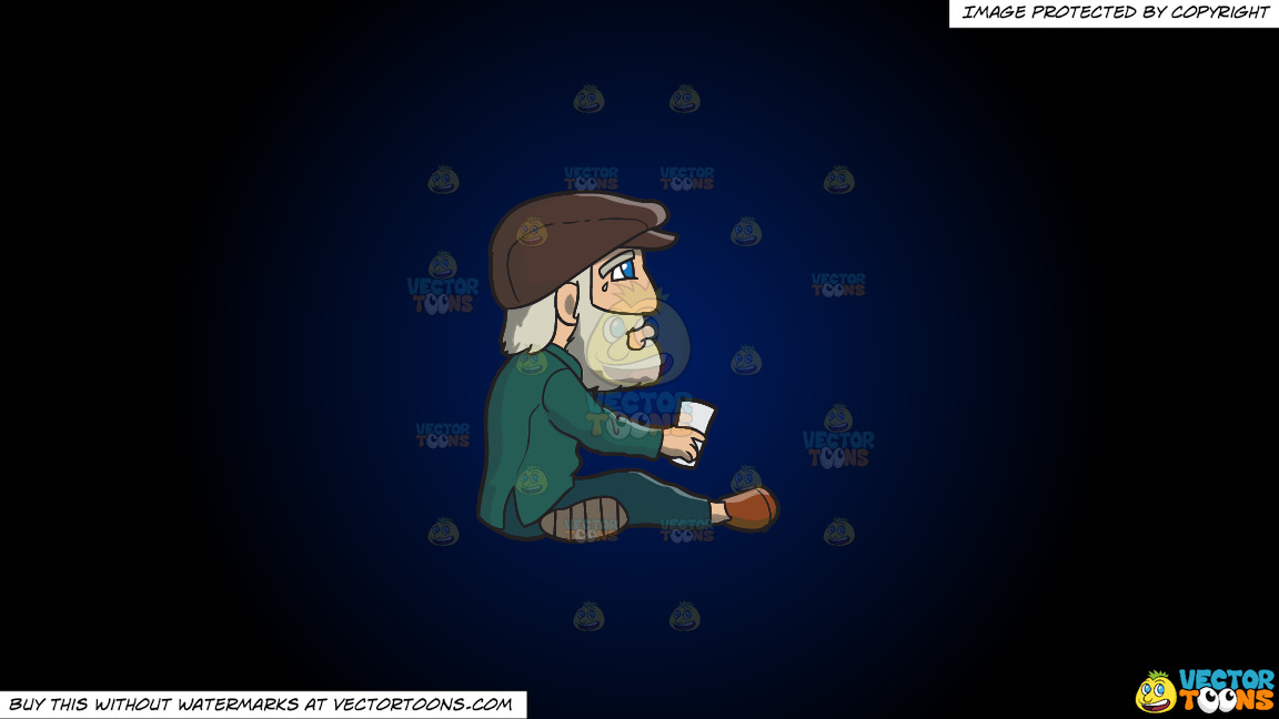 A Crying Old Man Begging For Money On A Dark Blue And Black Gradient Background thumbnail