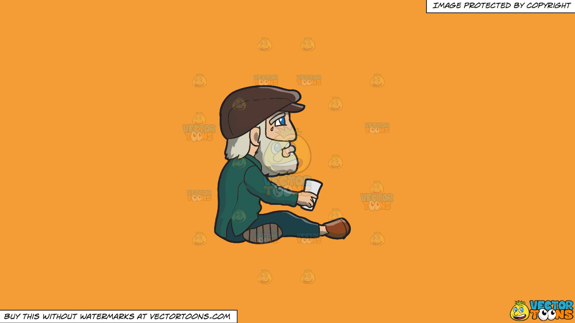 A Crying Old Man Begging For Money On A Solid Deep Saffron Gold F49d37 Background thumbnail