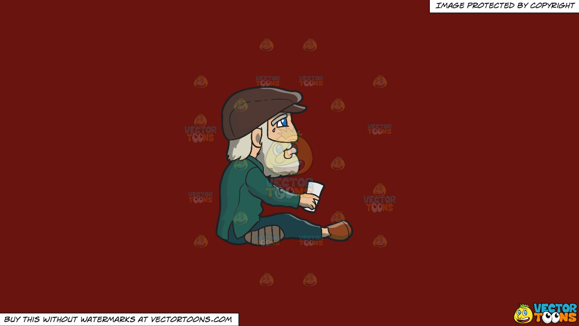 A Crying Old Man Begging For Money On A Solid Maroon 69140e Background thumbnail