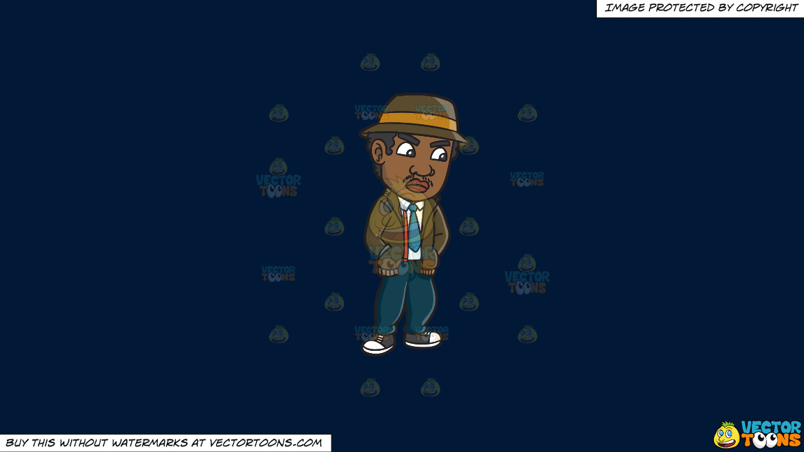 A Curious Rude Boy On A Solid Dark Blue 011936 Background thumbnail