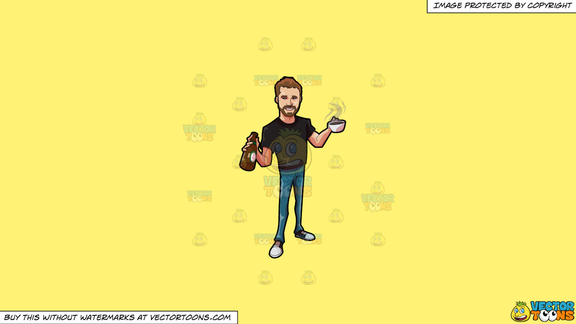 A Cute Guy Holding A Couple Of Hot And Cold Drinks On A Solid Sunny Yellow Fff275 Background thumbnail