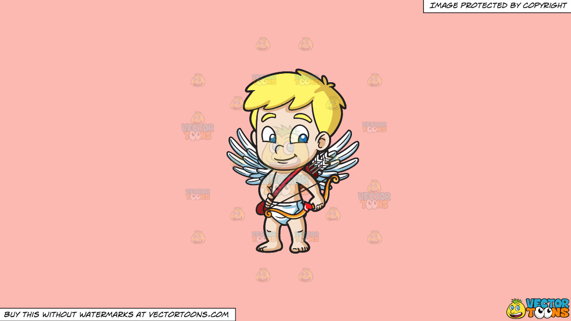 A Cute Little Cupid On A Solid Melon Fcb9b2 Background thumbnail