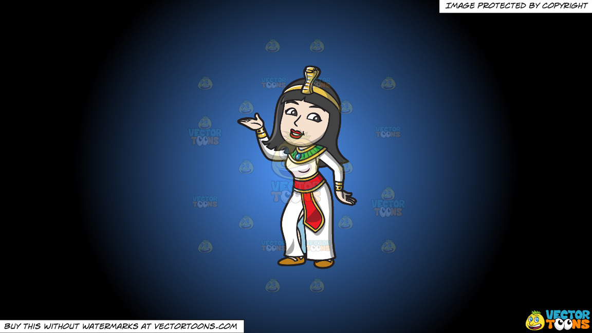 A Dancing Egyptian Princess On A Blue And Black Gradient Background thumbnail