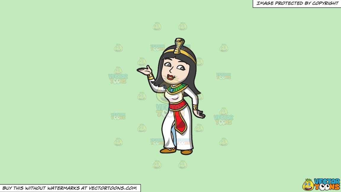 A Dancing Egyptian Princess On A Solid Tea Green C2eabd Background thumbnail