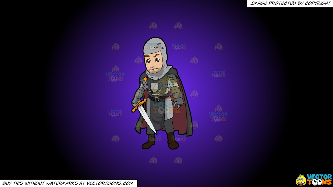 A Dashing Knight On A Purple And Black Gradient Background thumbnail