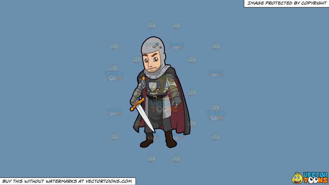 A Dashing Knight On A Solid Shadow Blue 6c8ead Background thumbnail