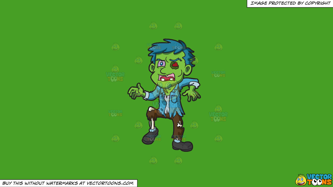 A Decaying Zombie On A Solid Kelly Green 47a025 Background thumbnail