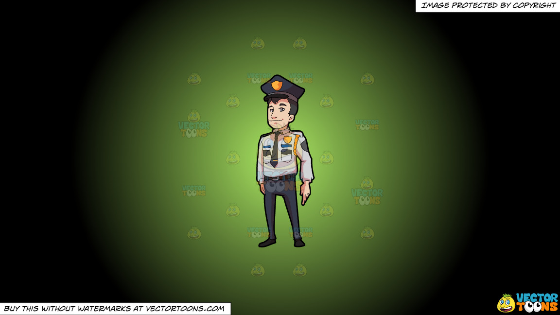 A Decent Looking Security Guard In Full Uniform On A Green And Black Gradient Background thumbnail