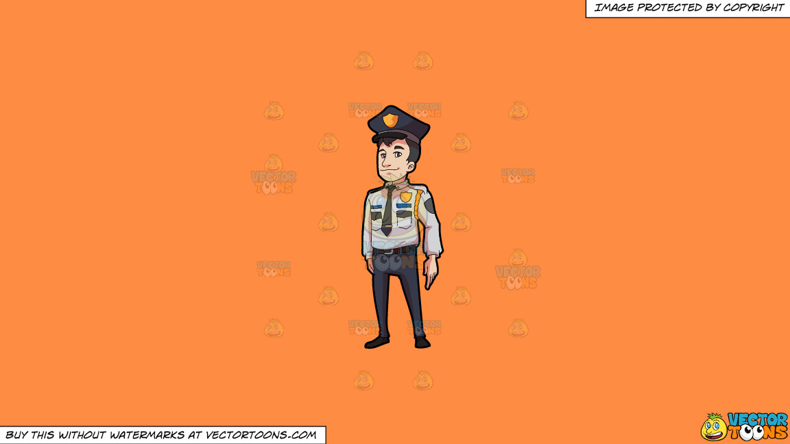 A Decent Looking Security Guard In Full Uniform On A Solid Mango Orange Ff8c42 Background thumbnail