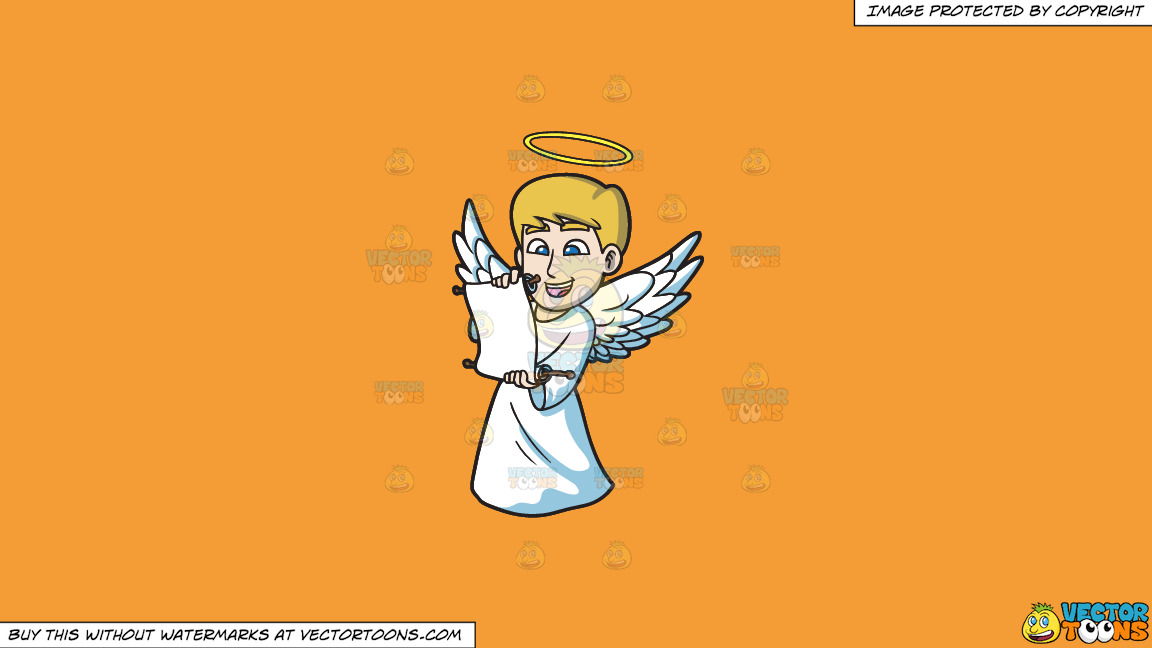 A Delighted Angel Reading From A Scroll On A Solid Deep Saffron Gold F49d37 Background thumbnail