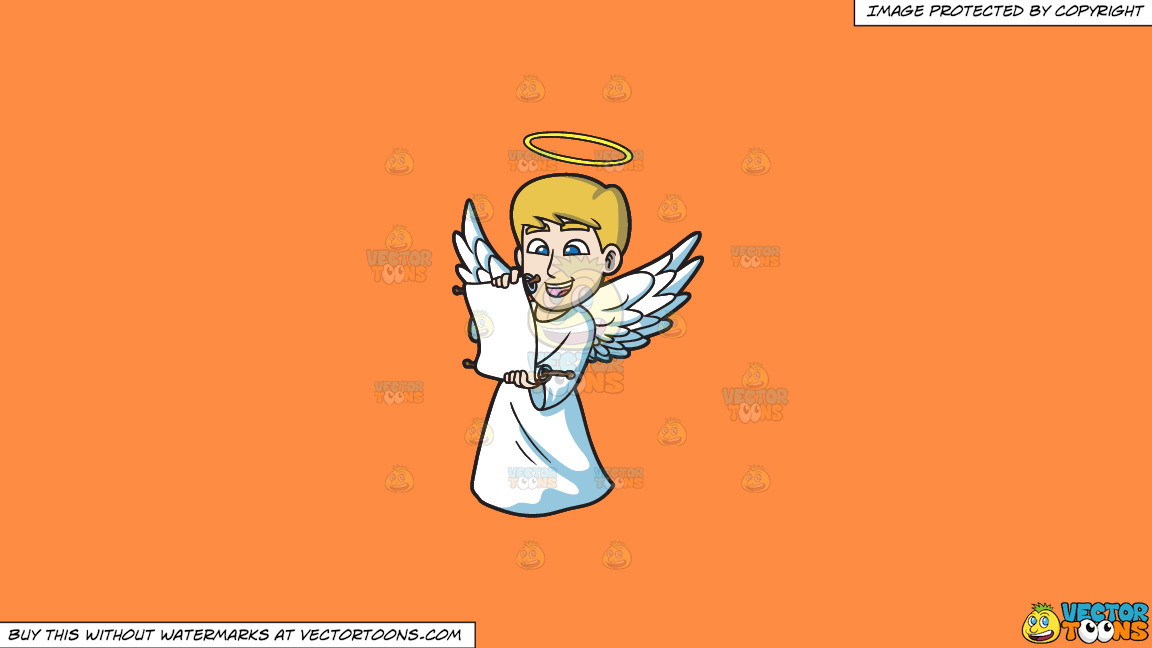 A Delighted Angel Reading From A Scroll On A Solid Mango Orange Ff8c42 Background thumbnail