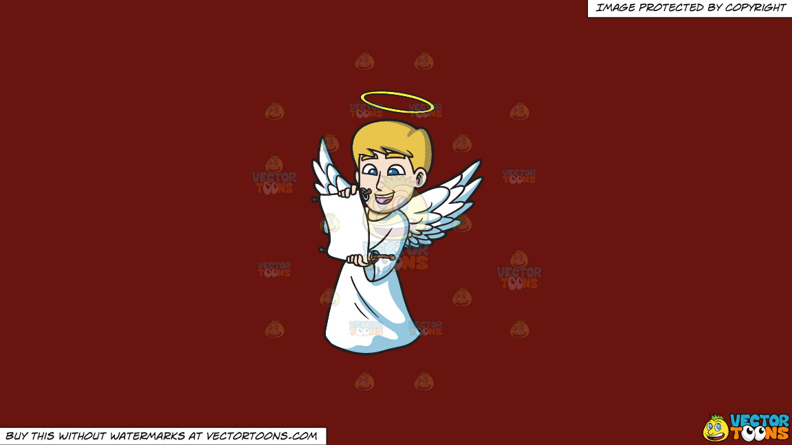 A Delighted Angel Reading From A Scroll On A Solid Maroon 69140e Background thumbnail