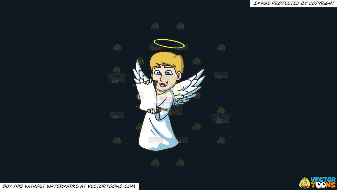 A Delighted Angel Reading From A Scroll On A Solid Off Black 0f1a20 Background thumbnail