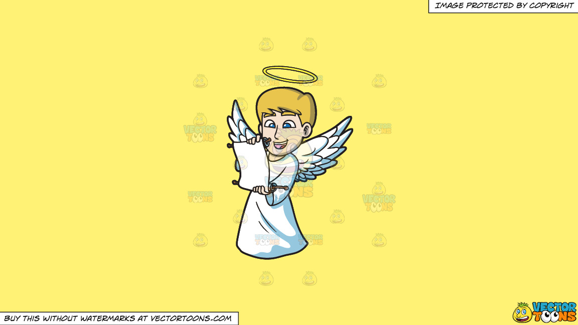 A Delighted Angel Reading From A Scroll On A Solid Sunny Yellow Fff275 Background thumbnail