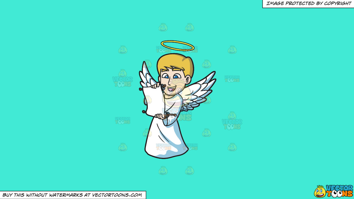 A Delighted Angel Reading From A Scroll On A Solid Turquiose 41ead4 Background thumbnail