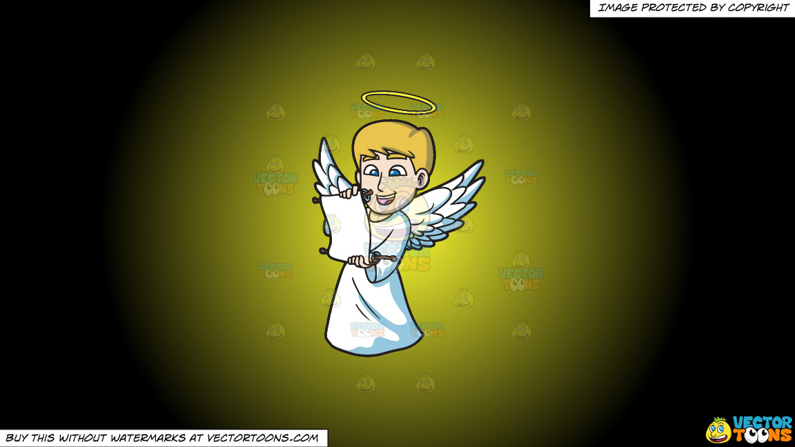 A Delighted Angel Reading From A Scroll On A Yellow And Black Gradient Background thumbnail