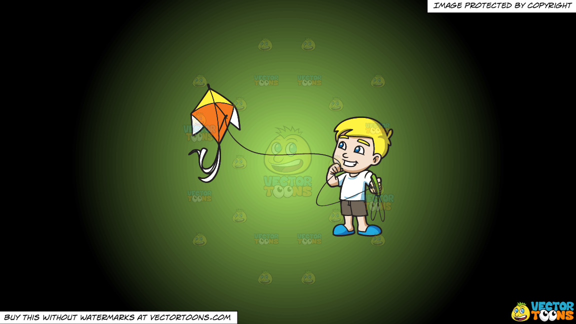 A Delighted Boy Flying A Beautiful Kite On A Green And Black Gradient Background thumbnail